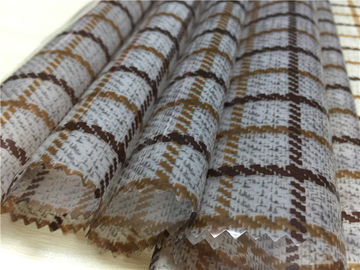 0.15mm Printed Grid Pattern Tpu Leather Untuk Ladies Fashion Coat Brown Color