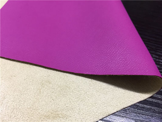 Waterborne 0.60mm Pu Kulit Sintetis Dengan Suede Kain Backing Warna Fuschia
